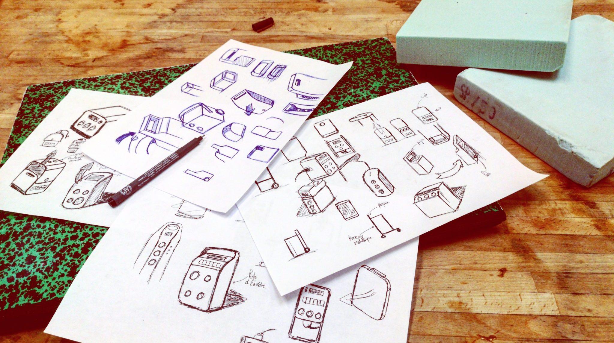 Croquis en vrac pour projet design produit